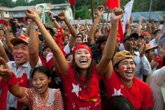 National League for #Democracy supporters celebrated unofficial results of parliamentary elections in #Myanmar in April, 2012 (Paula Bronstein/Getty Images)