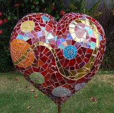 Mosaic Heart Garden Art with Gold Mirrored Pieces