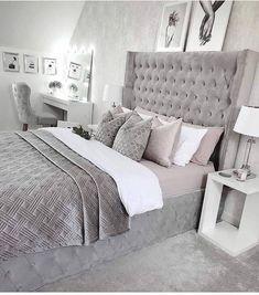 Grey Bedroom Decor, Bedroom Decor For Teen Girls, Stylish Bedroom, Small Room Bedroom, Room Ideas Bedroom, Home Bedroom, Modern Bedroom, Teenage Bedrooms, Grey Bedroom Design