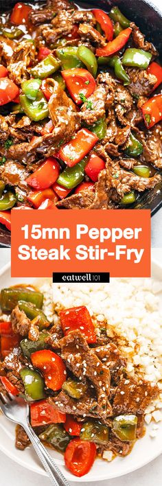 Pepper Steak Stir-Fry - - You'll love this pepper steak stir-fry recipe: A restaurant-quality dinner that you can make in less than 20 minutes, using simple and fresh ingredients. Steak Stirfry Recipes, Easy Steak Recipes, Uk Recipes, Beef Recipes For Dinner, Asian Recipes, Cooking Recipes, Healthy Recipes, Pepper Steak Recipe Easy, Pepper Steak Stir Fry