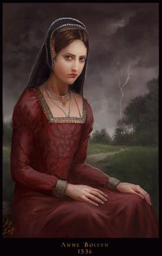 """A striking painting of a brooding Anne by Kristina Gehrmann.  The thunder in the background echoes the poem Thomas Wyatt wrote about the """"bloody days"""" of May 1536; the refrain, in Latin, is """"circa regna tonat,"""" or """"it [death] thunders around thrones.""""  [TH]"""
