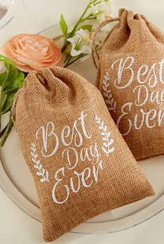 'Best Day Ever' burlap bags