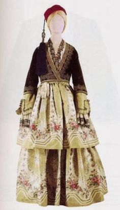 It consists of silk embroidered shirt, a silk dress with double skirt and black velvet kontogouni with rich gold embroidery. The headgear red fez with a blue silk tassel. Arabian Nights Costume, Greek Dress, Ethnic Dress, Folk Costume, Western Outfits, Embroidered Silk, Historical Clothing, Traditional Dresses, Costume Design