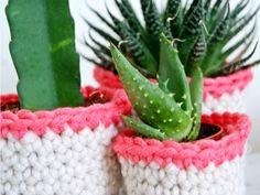 Un tutoriel pour réaliser soi-même de jolis pots en crochet pour ses plantes !