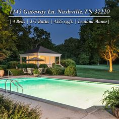 Relax and unwind with a late night swim after a long day. #ForSale #NCR #LealandManor #Nashville #Poolside