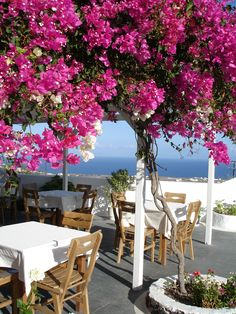 """Alfresco - pretty pink, white and blue - santorini, greece | via santoriniblog """