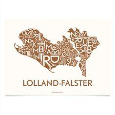 Plakat over Lolland-Falster. Med alle de smukke bynavne; Ullebølle, Store Musse, Lille Musse, Marielyst m.fl.  Plakaten er trykt i mat kobbe...