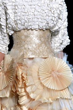 Dress with pleated fabric circles, mixed textures, layers and repetition - artful fabric manipulation for fashion design; sewing ideas // Dior