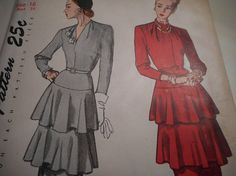 Vintage 1940's Simplicity 2278 Dress Sewing Pattern Size