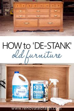 How To Remove BAD Smells from old Furniture - Tip is a game changer! Whether you are trying to remove the smell of cigarette smoke or the musty, moldy smell of old wood furniture, you don't want to just mask the smell but you need a simple solution th Deep Cleaning Tips, House Cleaning Tips, Cleaning Hacks, Repurposed Furniture, Rustic Furniture, Painted Furniture, Kitchen Furniture, Outdoor Furniture, Classic Furniture