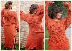 Clearance  Burnt Orange  Skirt Set  Ankle Length by KnottyLoop, $145.00