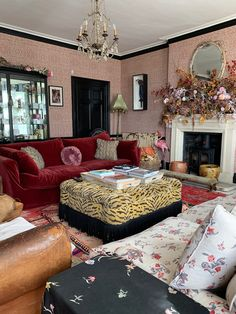 At home with Pearl Lowe, Podcast show notes – Sophie Robinson Bert And May Tiles, Red Velvet Sofa, Vintage Style Wallpaper, Pearl Lowe, Mad About The House, Interior And Exterior, Interior Design, Lowes Home, Dream Decor