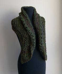 Sale Hand Knit Shoulder Shawl Scarf Kerchief Wrap by PeacefulPath