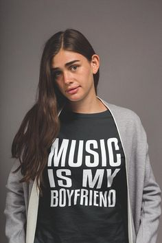 I Love Music T-shirt, Music is my Boyfriend, Womens Clothes, Unisex Graphic Tees, Music Lover Clothing, Tumblr Graphic Top
