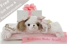 Adorable Puppy Wiggles Belly Baby Blanket - http://www.gotobaby.com/ - Show off your exquisite taste and send this posh belly blanket personalized with baby's name and birth date.