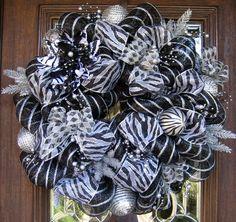 Deco Mesh BLACK and SILVER ZEBRA Christmas Wreath