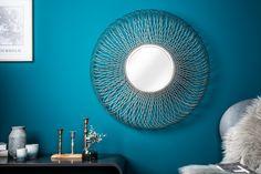 Dizajnové zrkadlo v striebornej farbe 79cm. Mirrored Furniture, Metal Furniture, Infinity Mirror, Oval Mirror, Interior Decorating, Interior Design, Living Room Decor, House Design, Modern