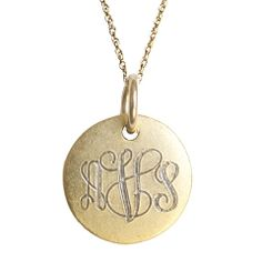 Golden Thread ~ Antiqued Small Gold Disc Monogram Necklace