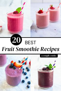 Here are the top healthy and easy frozen fruit smoothie recipes, made with every type of fruit! These icy purees are loaded with good stuff. | smoothie recipes | healthy breakfast | healthy snacks | vegetarian recipes | healthy recipes | #fruitsmoothie #fruitsmoothierecipe #frozenfruit #frozenfruitsmoothierecipe #easyfruitsmoothierecipe #easysmoothie #easyfruitsmoothie #healthyfruitsmoothie #healthysmoothie Watermelon Smoothie Recipes, Strawberry Blueberry Smoothie, Frozen Fruit Smoothie, Chocolate Banana Smoothie, Smoothie Recipes With Yogurt, Healthy Fruit Smoothies, Breakfast Smoothie Recipes, Fruit Smoothie Recipes, Good Smoothies