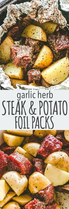 Garlic Herb Steak and Potato Foil Packs Recipe - Delicious Steak and potatoes seasoned with garlic and herbs and cooked inside foil packets. dinner summer Easy Garlic Herb Steak and Potato Foil Packs Foil Packet Dinners, Foil Pack Meals, Foil Dinners, Steak Foil Packets, Camping Foil Meals, Grilling Foil Packets, Foil Packet Recipes, Backpacking Meals, Potato Recipes