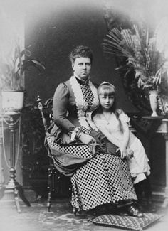 Grand Duchess Maria Alexandrovna, Duchess of Edinburgh and Duchess of Saxe-Coburg and Gotha with her eldest daughter Princess Marie, later Queen of Romania, Queen Victoria Children, Princess Victoria, Romanian Royal Family, Princess Alexandra, Young Prince, Casa Real, Imperial Russia, Victoria And Albert, Kaiser