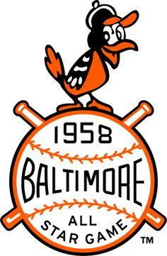 1958 Baltimore Orioles Major League Baseball All Star Game Logo Baseball Posters, Baseball Art, Baseball Crafts, Baseball League, Baseball Quotes, Baseball Stuff, Sports Baseball, Brand Identity Design, Branding Design