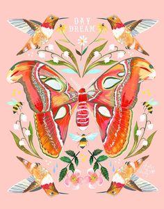 🌸❤️🍂 Lovely art by one of my favorite artists Art And Illustration, Illustrations, Watercolor Hand Lettering, Pop Art, Acrylic Artwork, Dibujos Cute, Bunt, Art Inspo, Flower Art