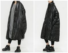 womens winter coats jackets in blackfeaturing by QandAfashion