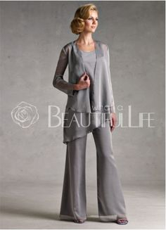 Classic Silver Gray Chiffon Mother Of The Bride Pant Suits