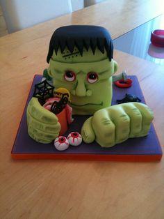 Spooky monster cake by eileenandmark, via Flickr Spooky Halloween Cakes, Inspirational, Desserts, Food, Tailgate Desserts, Deserts, Essen, Postres, Meals