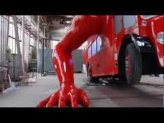 London double-decker bus does push-ups in preparation for Olympics by David Cerny