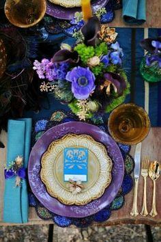 puerple WEDDING tabke setting