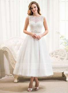 A-Line/Princess Scoop Neck Tea-Length Satin Tulle Lace Wedding Dress With Beading Sequins (002054369) $136