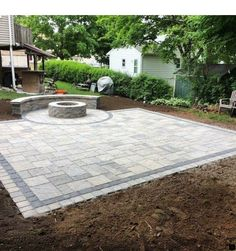 Patio and sitting wall combo completed in Meriden CT. 420 sq ft Blu Champlain Grey with a 12 mini-creta sitting wall. j d landscaping llc Patio Diy, Backyard Patio Designs, Pergola Patio, Backyard Landscaping, Pergola Kits, Back Yard Patio Ideas, Patio Ideas On A Budget, Front Yard Patio, Fire Pit Backyard