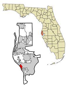 Treasure Island map and weather to help you find your way around Treasure Island and plan your Treasure Island vacation. Pinellas Park Florida, Palm Harbor Florida, Tarpon Springs Florida, Dunedin Florida, Places In Florida, State Of Florida, Florida Vacation, Florida Beaches, Beach Vacations