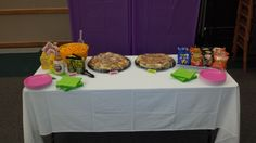 Food Table at the Candy Land First Birthday Party