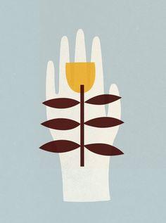 Flower in Palm by Clare Owen on Artfully Walls