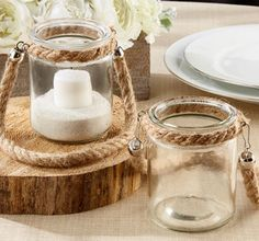 Rope Trim Glass Jar Tealight Candle Holder  - http://www.partycity.com/product/rope+trim+glass+jar+tealight+candle+holder.do?refType=&from=Search&navSet=nautical&bypass_redirect=1