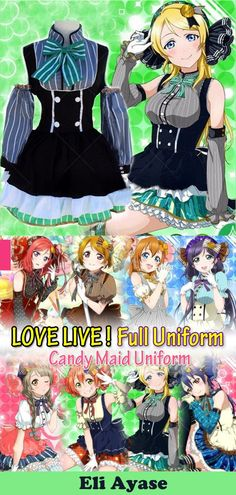 includes crown hair clip (nico, honoka) neck part dress gloves fishnet stockings wings tail the characters with gradient ribbons Ribbons are not incl Easy Anime Cosplay, Cat Cosplay, Anime Cosplay Costumes, Cosplay Dress, Halloween Cosplay, Cosplay Girls, Halloween Costumes, Anime Websites, Anime Store