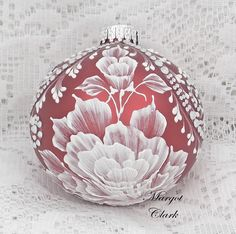 Red Textured Floral Design Ornament with Bling 475 by MargotTheMUDLady on Etsy