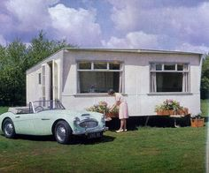 Austin Healey 3000 in front of 1964 Acklam Vintage Caravans, Austin Healey, Mobile Homes, Travel Trailers, Glamping, Campers, Mini, British, Architecture