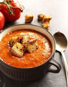 Healing Roasted Tomato and Red Pepper Soup - Robust Recipes-Healing Roasted Tomato and Red Pepper Soup - Bursting with sweet tomatoes and roasted red peppers! This recipe is vegan Soup Recipes, Pumpkin Recipes, Vegan Recipes, Cooking Recipes, Cheap Recipes, Fall Vegetarian Recipes, Healthy Fall Recipes, Vegan Pumpkin, Winter Recipes