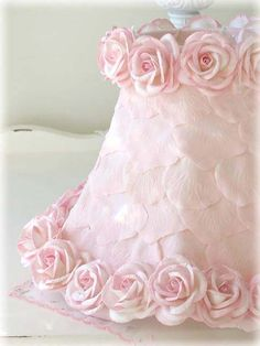 Exquisite Rose Shabby Table Lamp with Pink Rose Shade