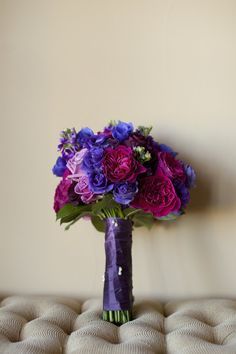 Vibrant Purple and Pink Wedding Bouquet   Colleen Riley Photography