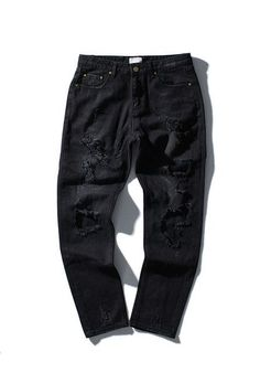 Tide brand off white winter new men 's wear mill wear striped Rose embroidery Denim pants men jeans jogger pants high quality