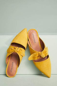 Dark Yellow Charlin Bow Mules #anthropology #ad