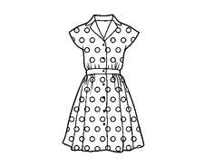 desenho vestido para colorir -