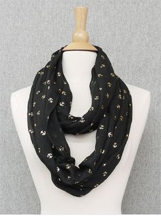 Black and Gold Anchor Infinity Scarf