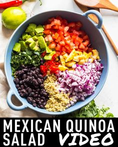 The most delicious Mexican Quinoa Salad of all times. Healthy avocado, protein-r… The most delicious Mexican Quinoa Salad of all times. Healthy avocado, protein-rich black beans, a boat load of cilantro and a little. Healthy Salad Recipes, Whole Food Recipes, Diet Recipes, Healthy Snacks, Chicken Recipes, Cooking Recipes, Recipes With Quinoa, Mexican Salad Recipes, Avocado Salad Recipes