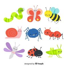 Insecte   Vecteurs, Photos et PSD Gratuits Boat Cartoon, Galaxy Theme, Tropical Animals, Little Panda, Beautiful Bugs, Little Elephant, Bugs And Insects, Simple Gifts, Cartoon Styles
